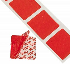 Tamper evident labels LE MARK 38mm x 38mm Red (TE3838R)